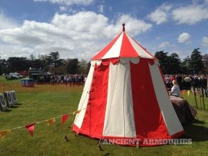 Red and white Medieval pavilion tent